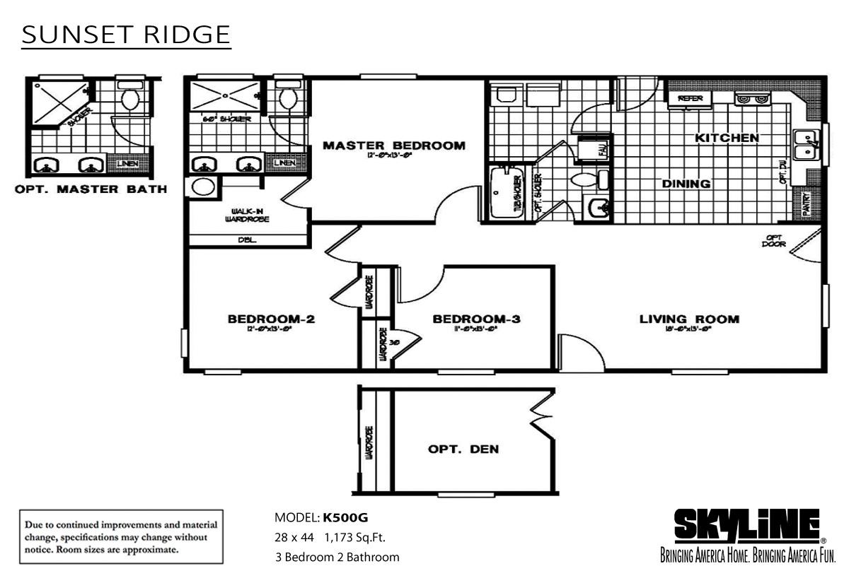 Floor Plan Layout: Sunset Ridge / K500G