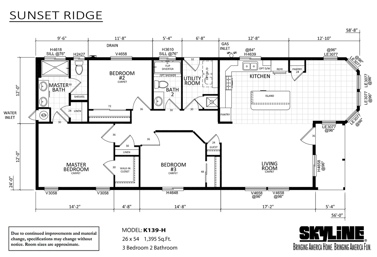 Floor Plan Layout: Sunset Ridge / K139-H