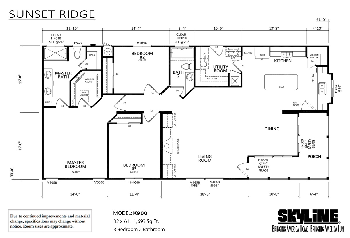 Floor Plan Layout: Sunset Ridge / K900