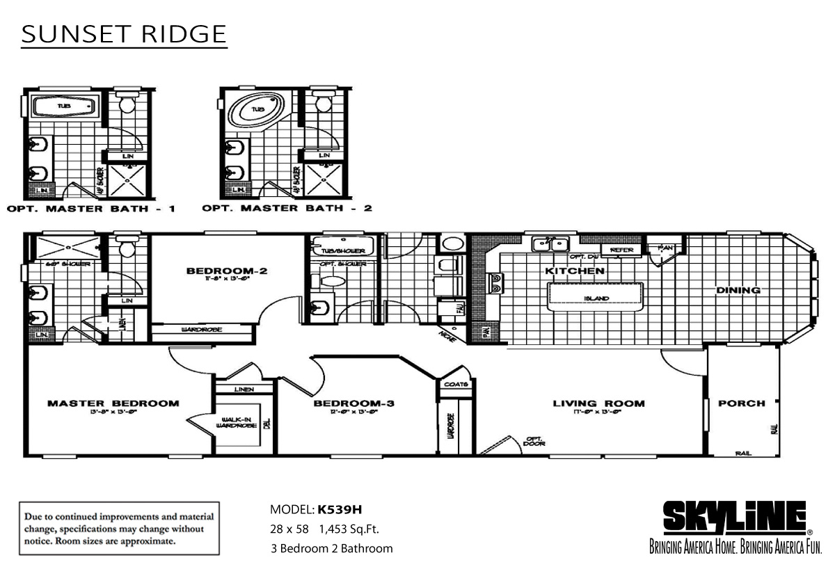 Floor Plan Layout: Sunset Ridge / K539H