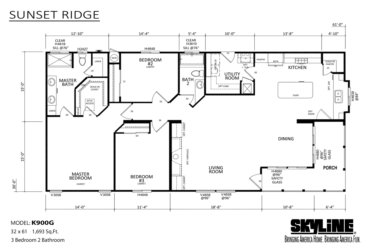 Floor Plan Layout: Sunset Ridge / K900G