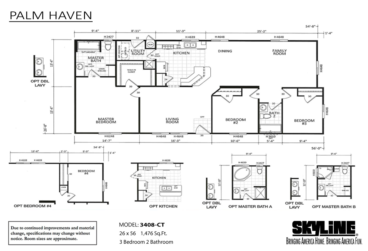 Floor Plan Layout: Palm Haven/3408CT-JNR