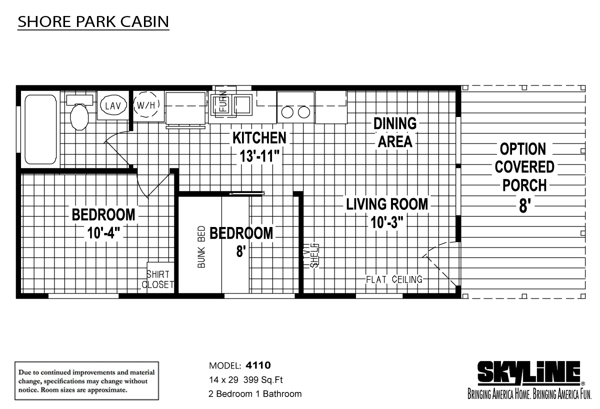 Floor Plan Layout: Shore Park Cabin / 4110