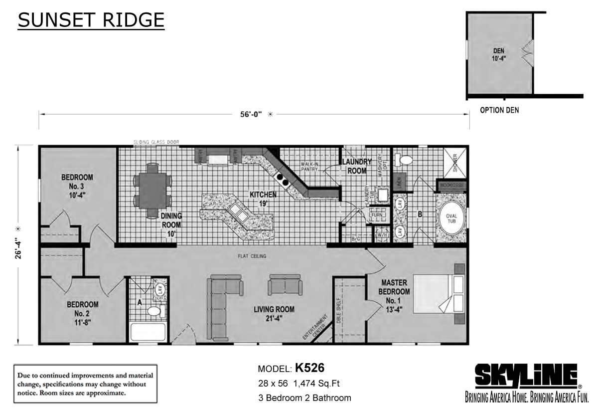 Floor Plan Layout: Sunset Ridge/K526