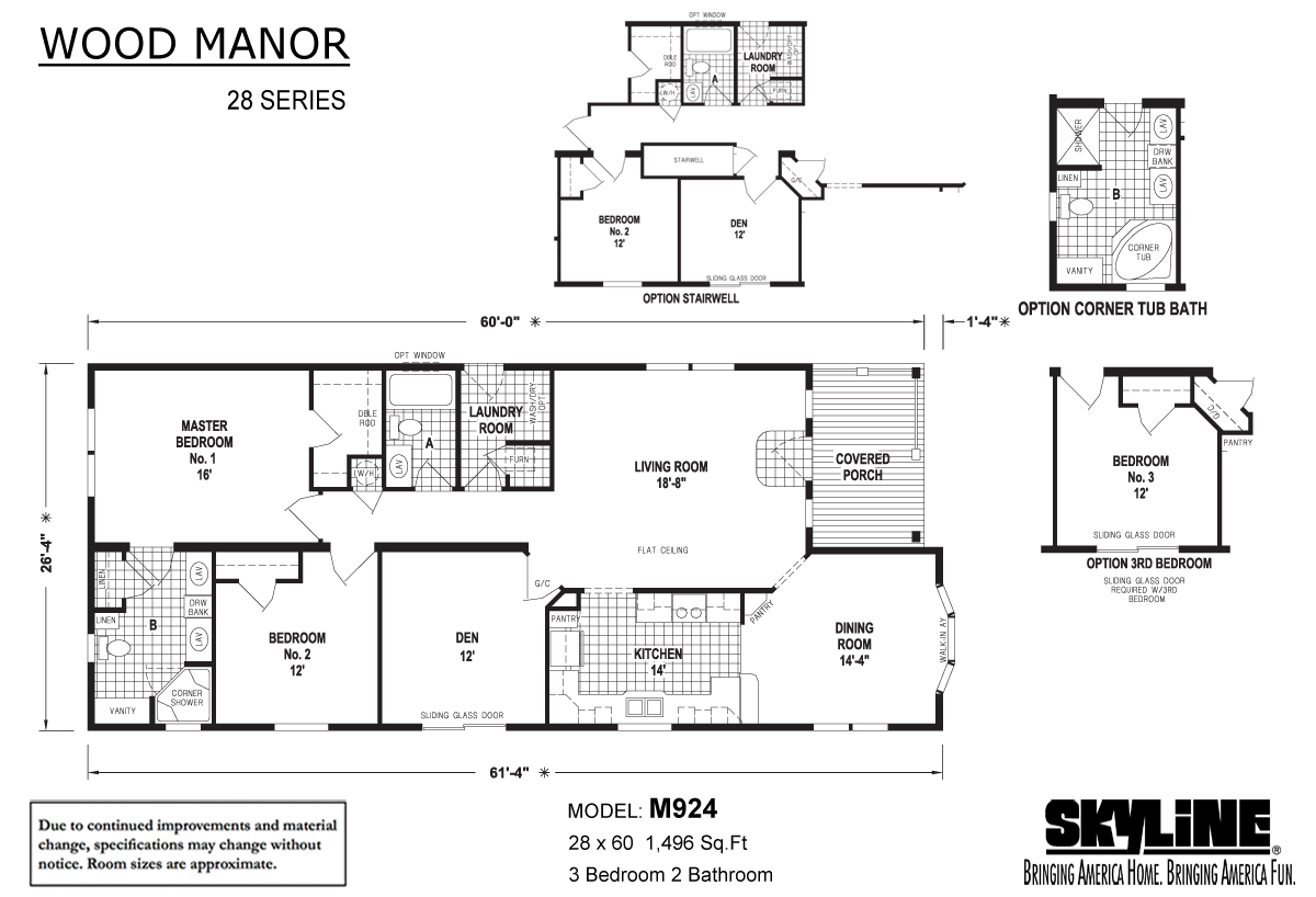 Floor Plan Layout: Wood Manor / M924