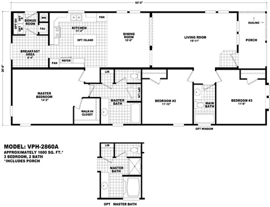 Floor Plan Layout: Value Porch  / VPH-2860A