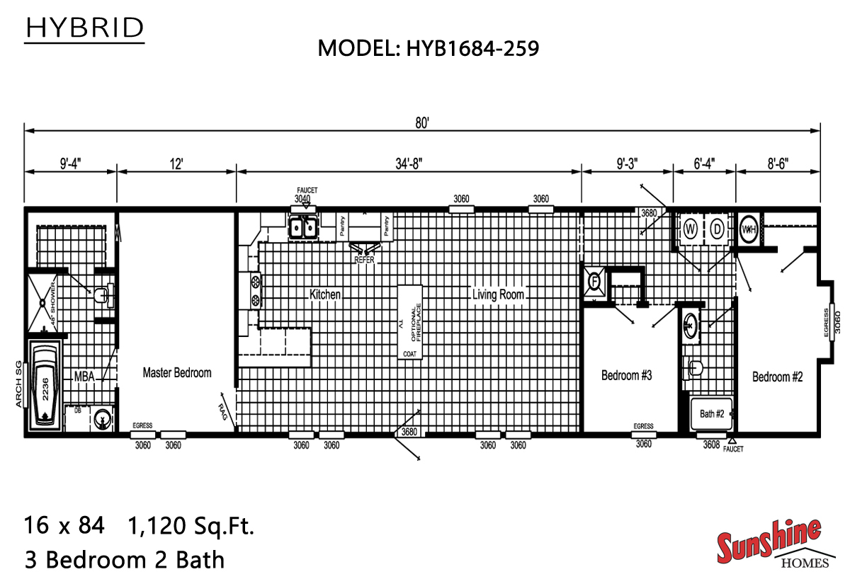 Floor Plan Layout: Hybrid/HYB1684-259