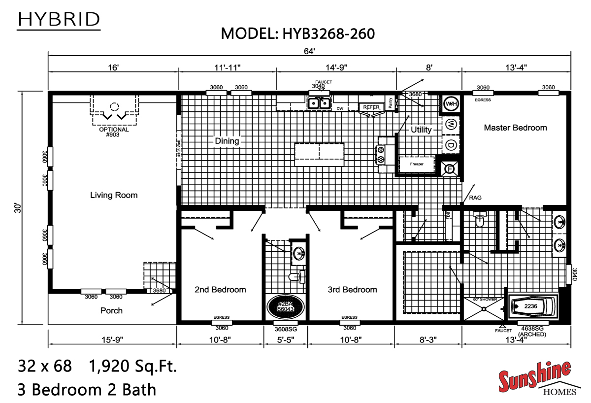 Floor Plan Layout: Hybrid / HYB3268-260
