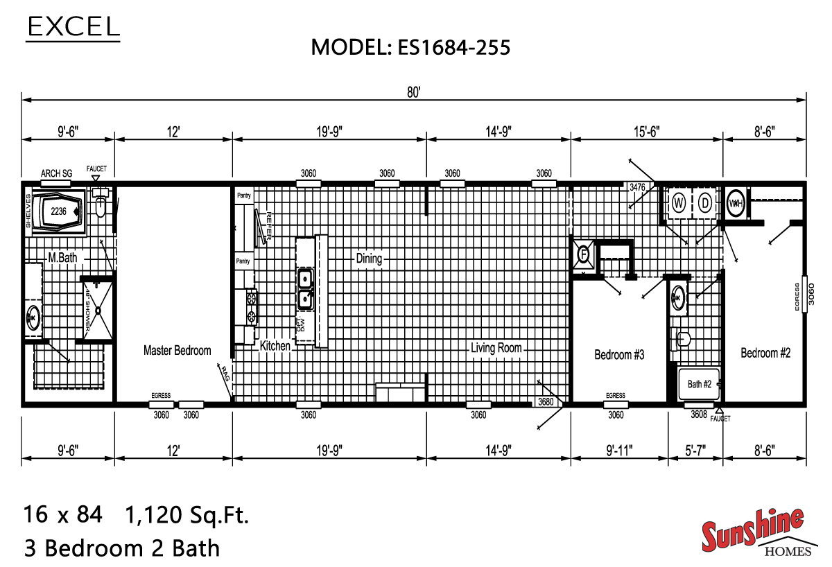 Floor Plan Layout: Excel/ES1684-255