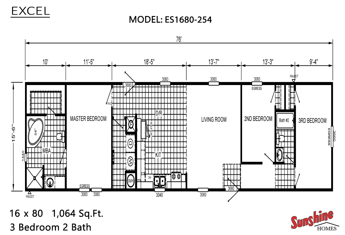 Floor Plan Layout: Excel / ES1680-254