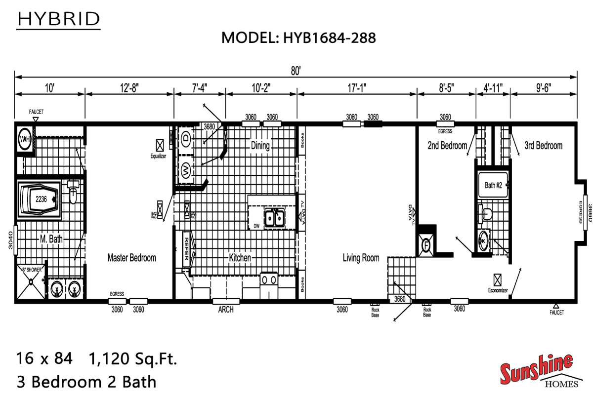 Floor Plan Layout: Hybrid/HYB1684-288