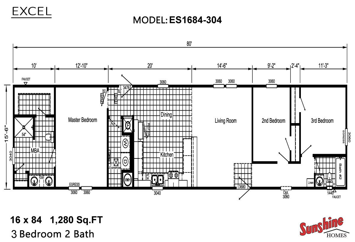 Floor Plan Layout: Excel/ES1684-304