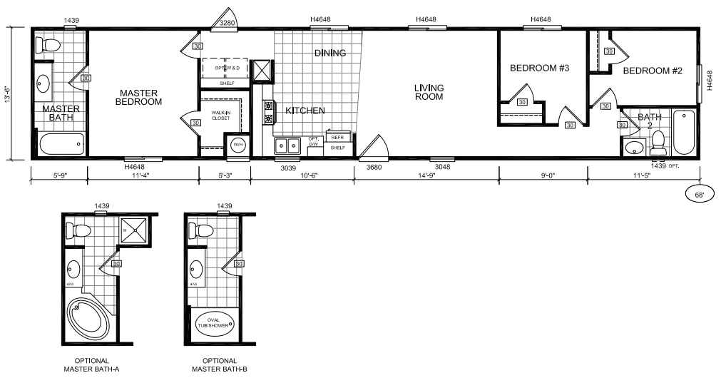 16x80 mobile home floor plans pictures to pin on pinterest for 14 x 70 mobile home floor plan