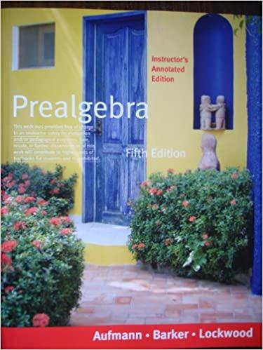 Book Cover for Prealgebra 5th