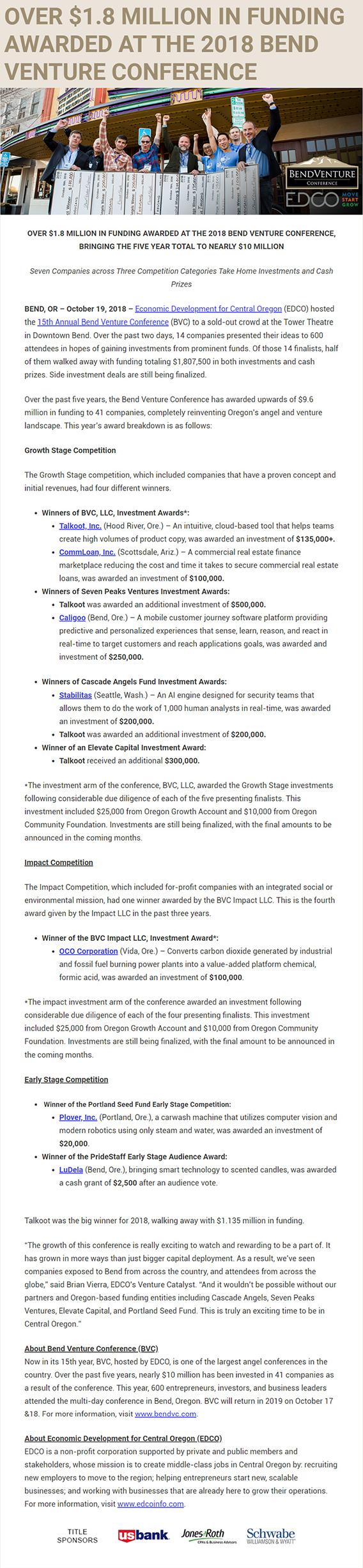 over million in funding awarded