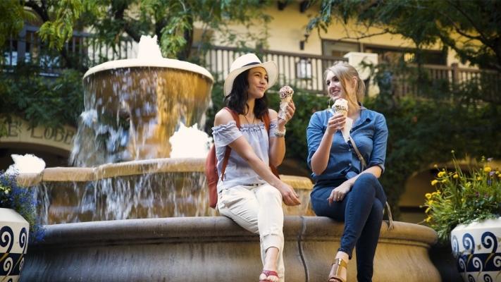 Ladies in Todos Santos Plaza Eating Ice Cream
