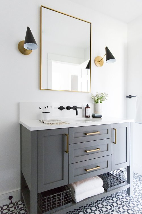 12 Bathrooms With Gray Cabinets That Will Melt Your Stress Away Hunker