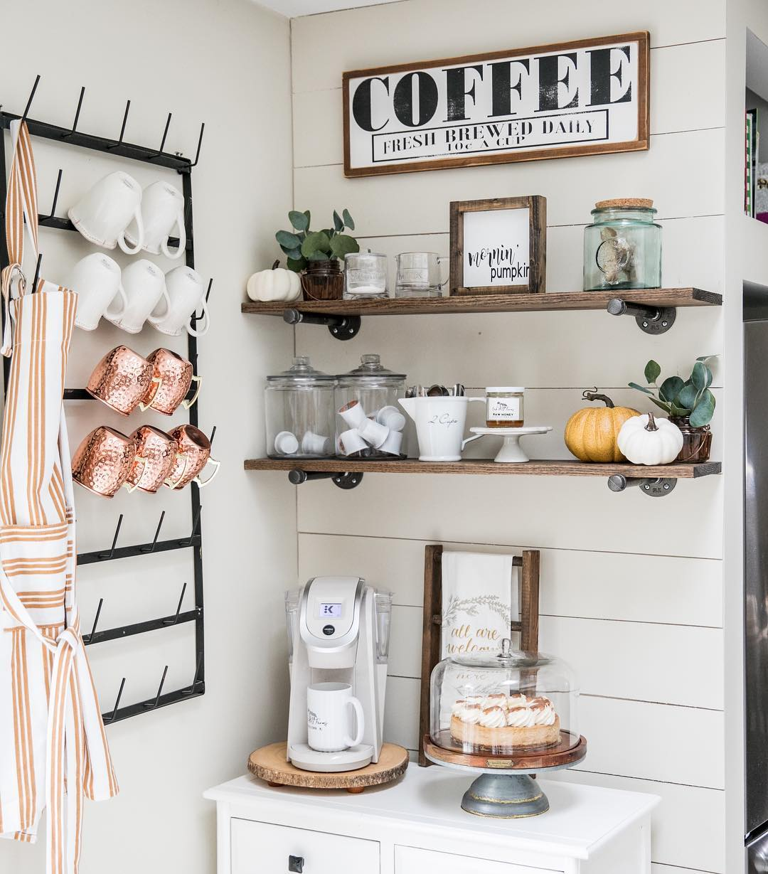 Just 7 Farmhouse Coffee Bar Ideas Guaranteed to Brighten Up Your Morning Routine | Hunker