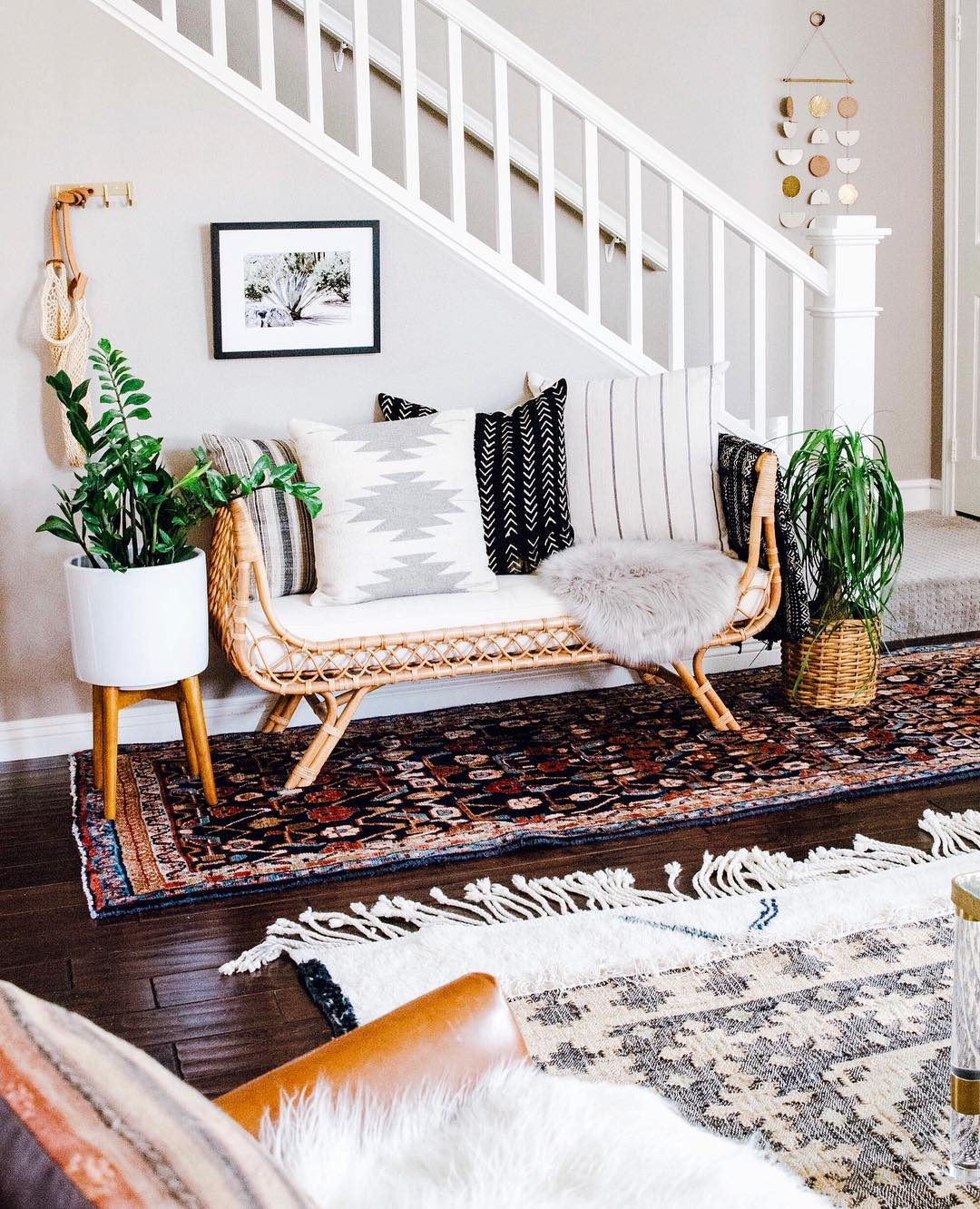 This Boho-Chic Sitting Area Is a Brilliant Solution for Awkward Entryways | Hunker