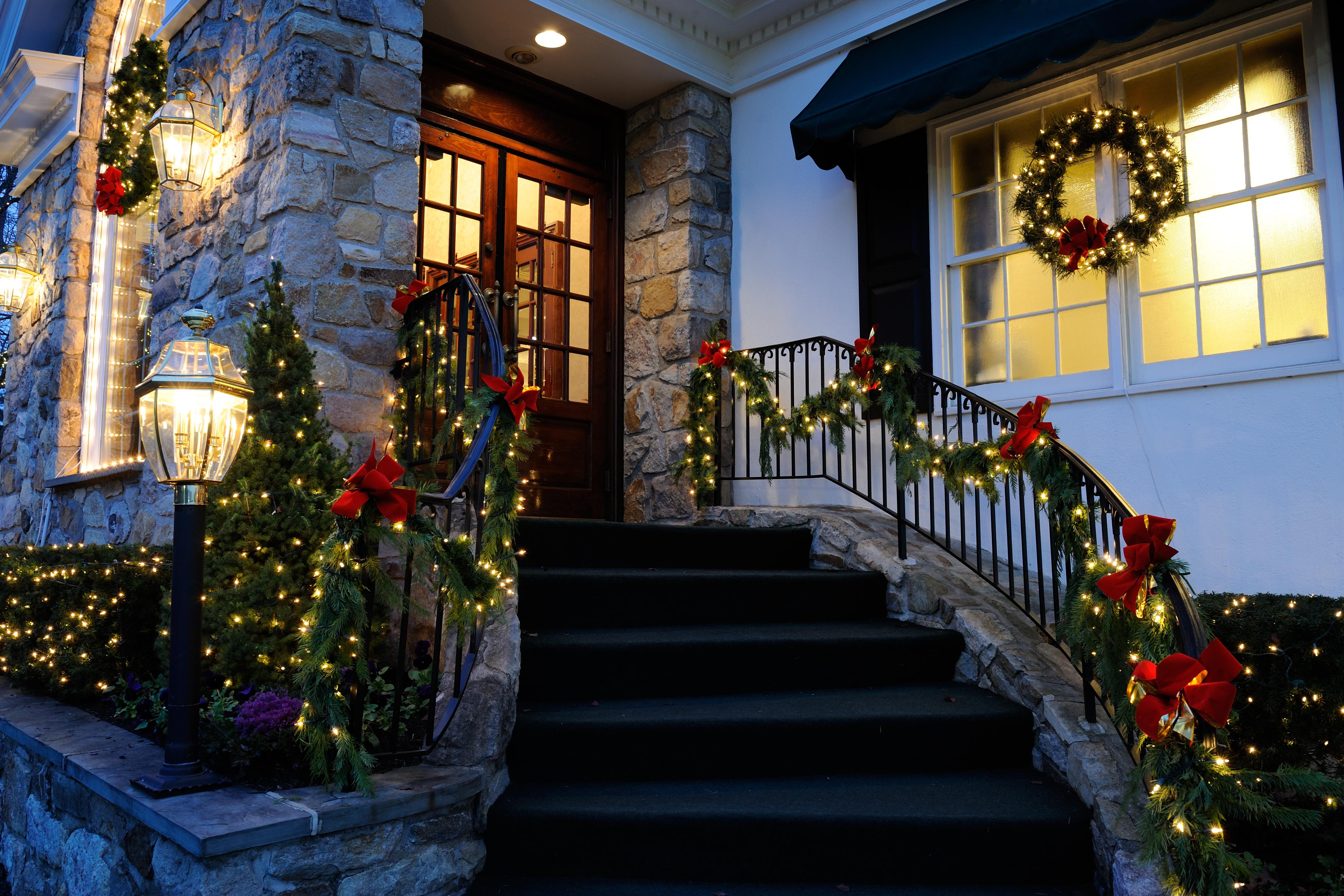 How To Hang Christmas Lights Outside Around Door Windows Home