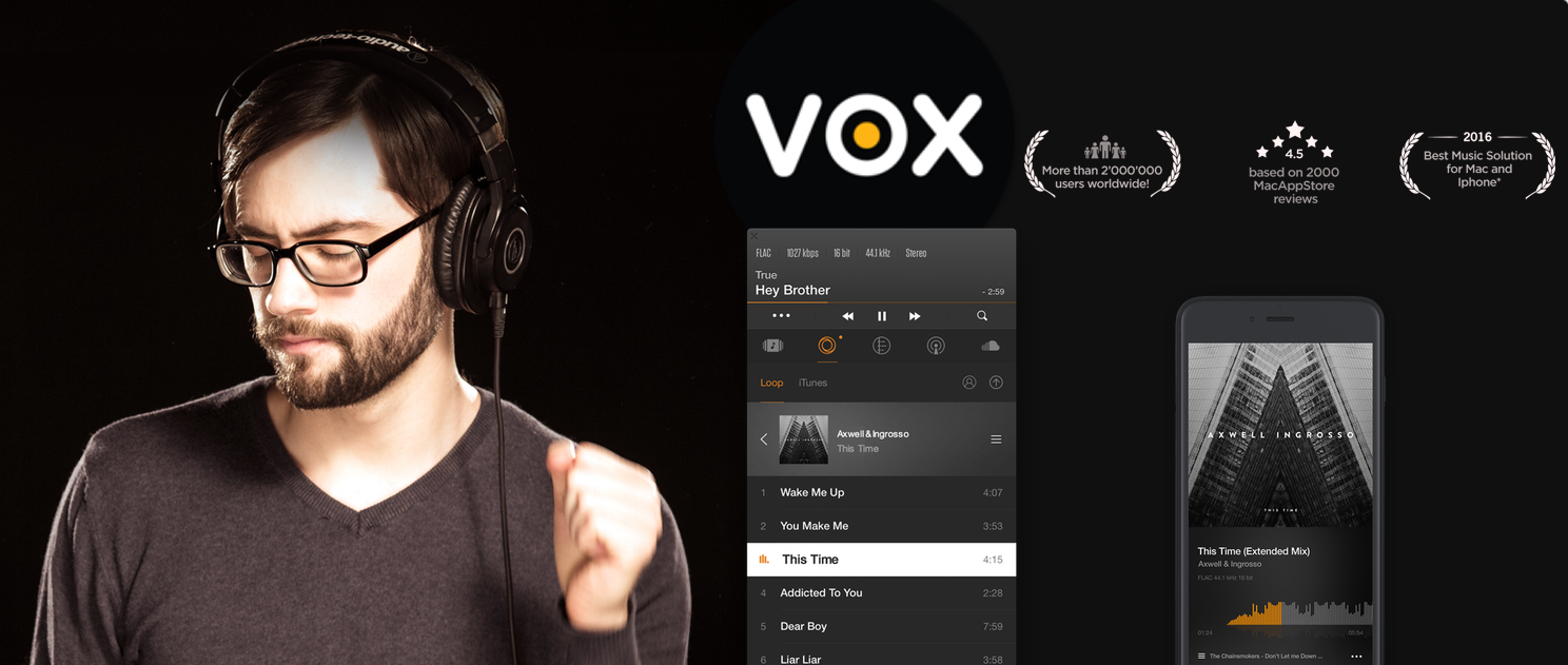 Apple Music vs Spotify vs LOOP: VOX and LOOP logos with VOX for Mac and for iPhone. A man enjoying music through headphones
