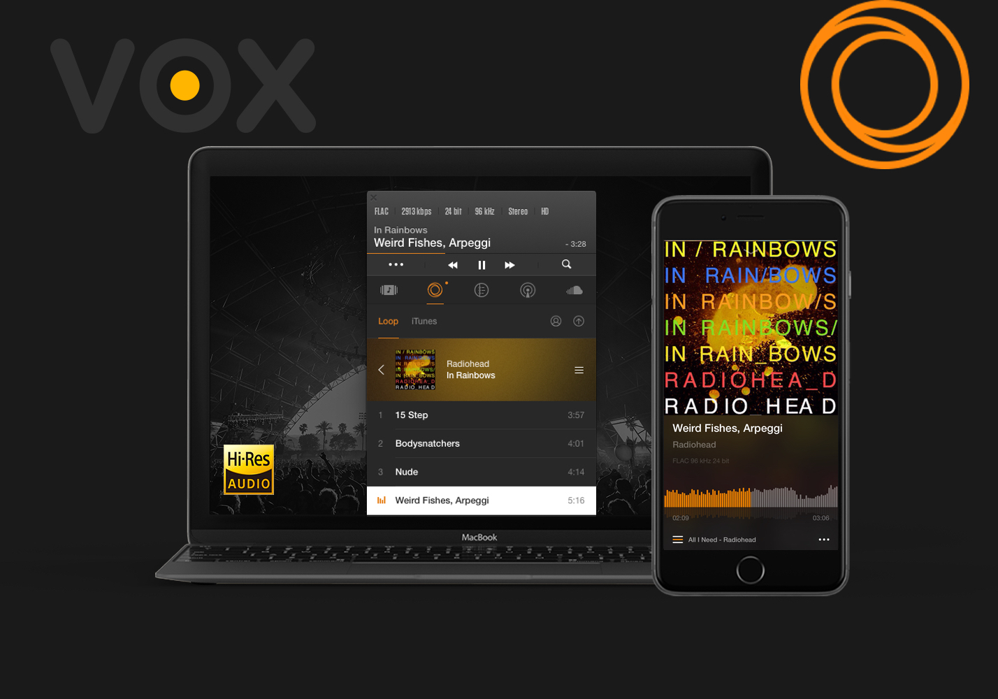 VOX Music Player open on Mac and iPhone with VOX and LOOP logos. VOX works as a great bass booster for you music.