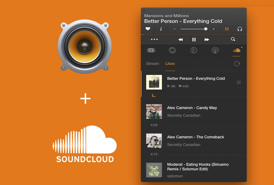 VOX Music Player and SoundCloud's logos. SoundCloud tab is open in VOX for Mac.