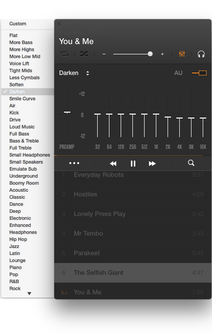 The Equalizer and the list of its presets open in VOX Music Player for Mac