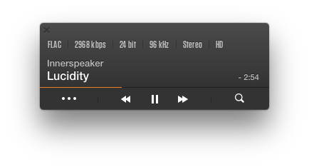 VOX HD Audio Player small window has everything you need to control the music playback. VOX is playing 'Lucidity' by Tame Impala
