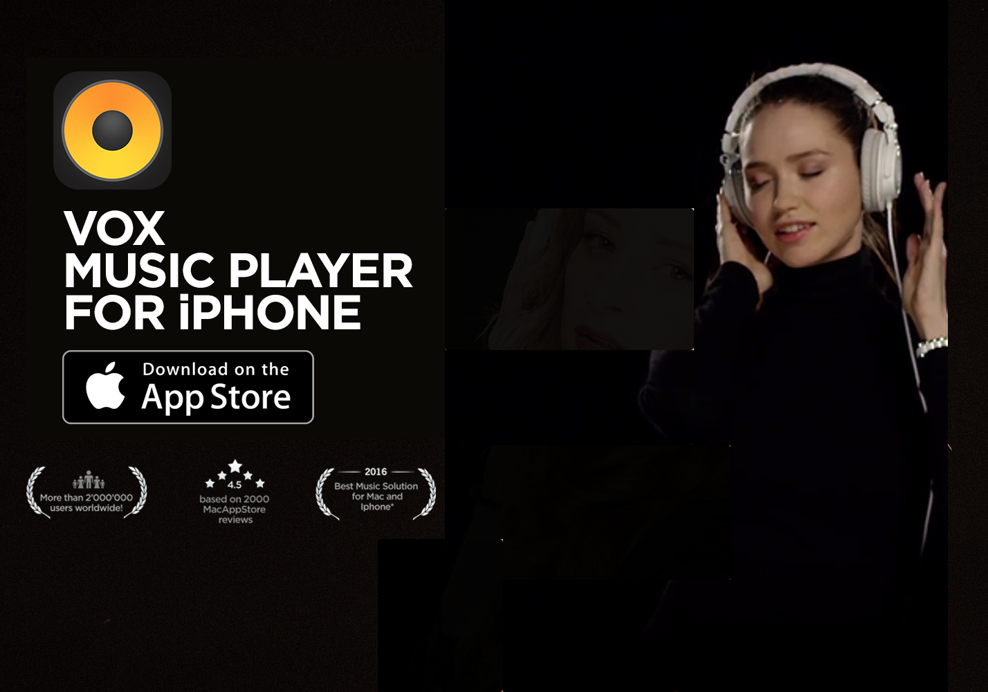VOX HD Audio Player logo with App Store button on black background. A girl enjoying music with headphones