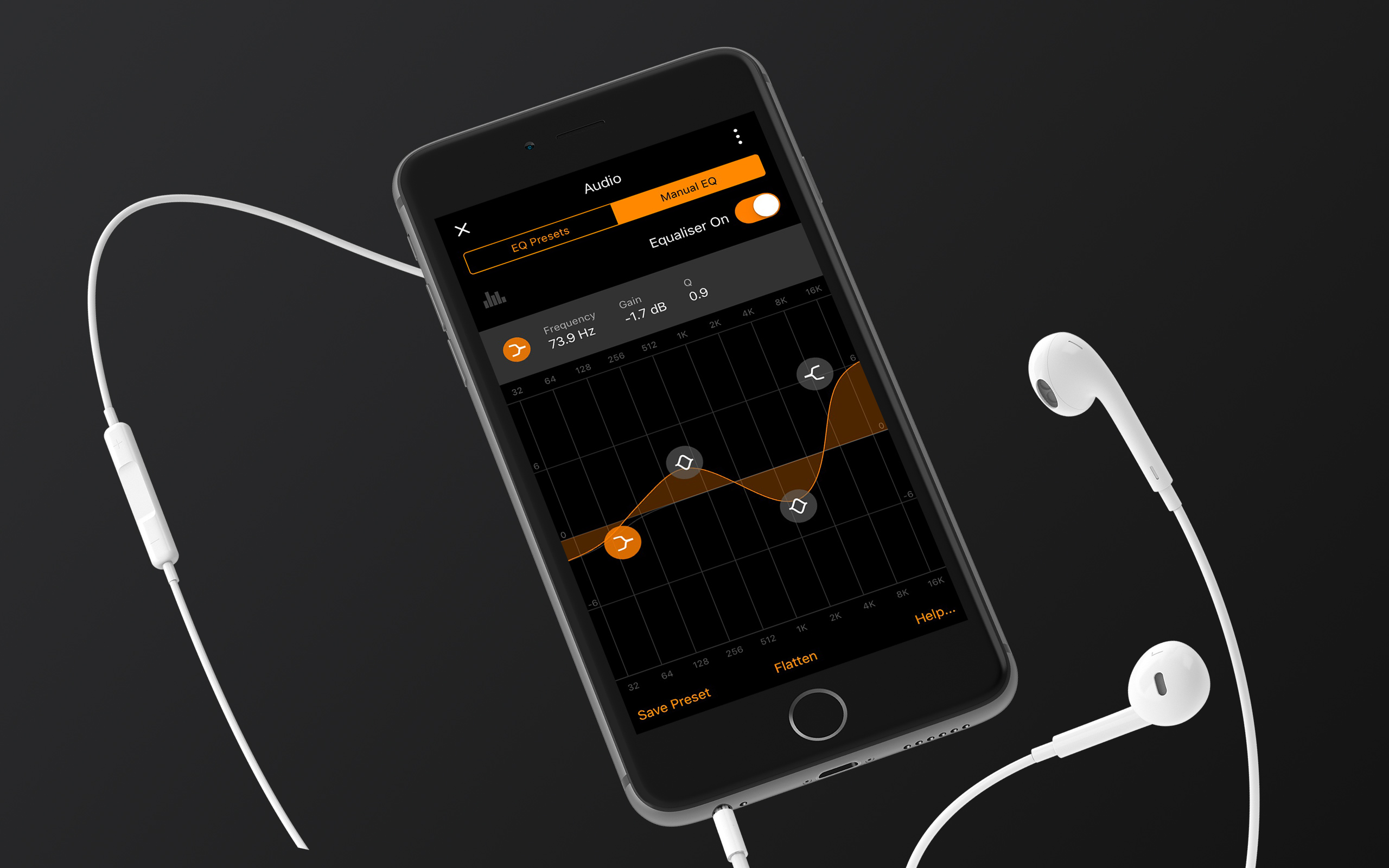 Equalizeк in VOX Music Player for iPhone