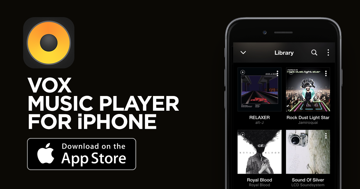 VOX Music Player for iPhone logo with Download on the App Store button.