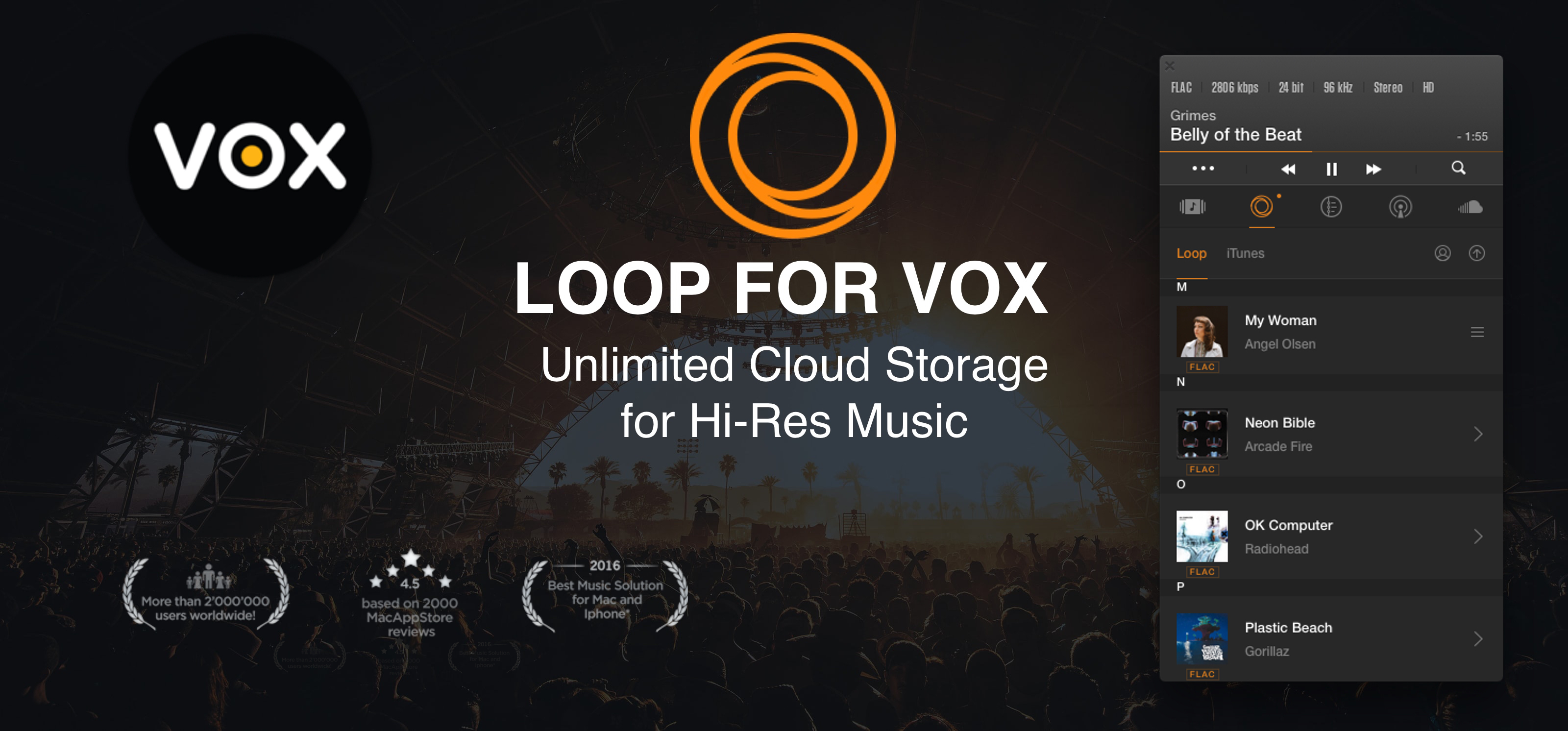 VOX High Definition Player for Mac with LOOP Music Cloud Storage logo. VOX window open on Mac