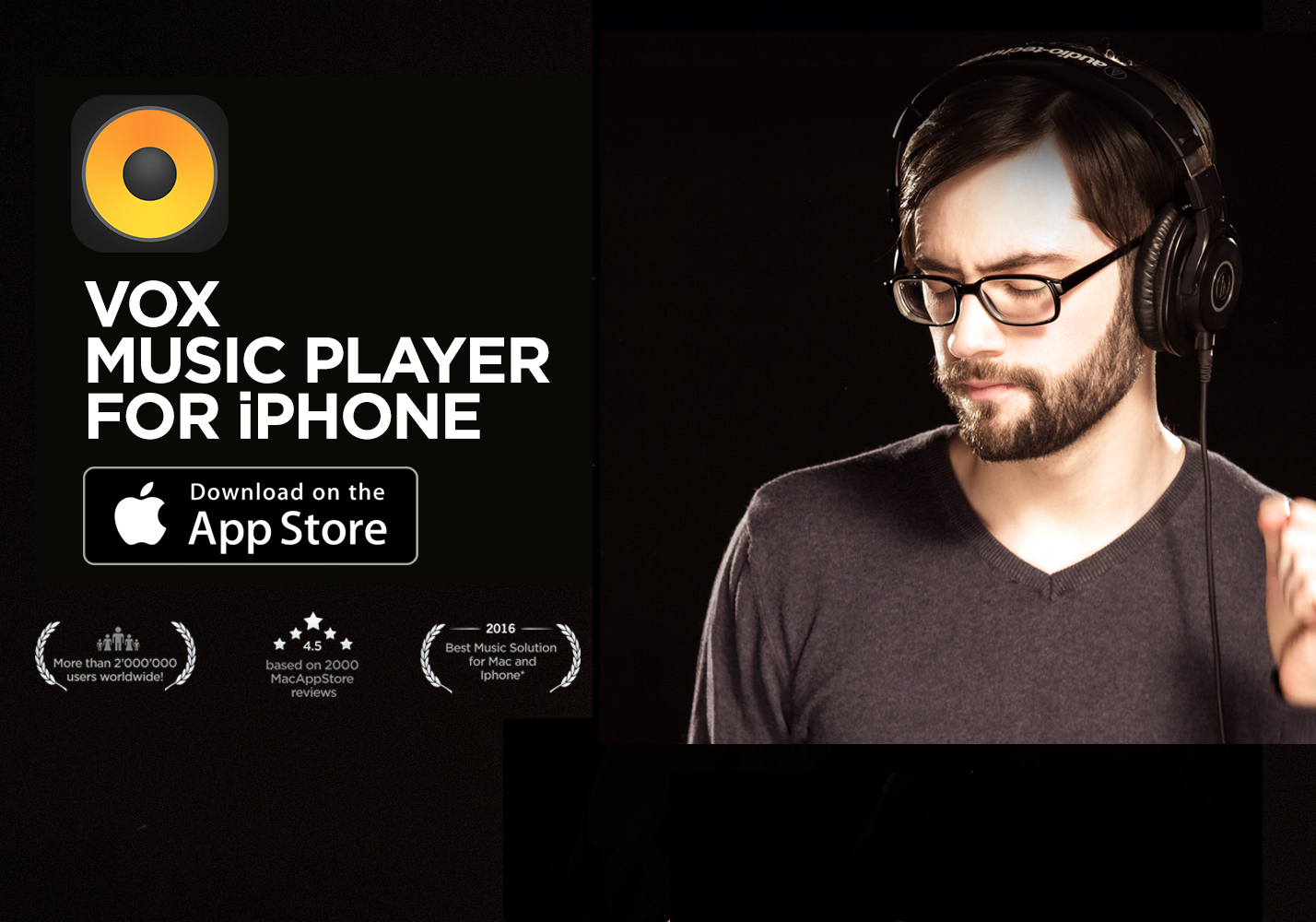 VOX High Definition Player for Mac logo, Download on the App Store button and a man with headphones enjoying music.