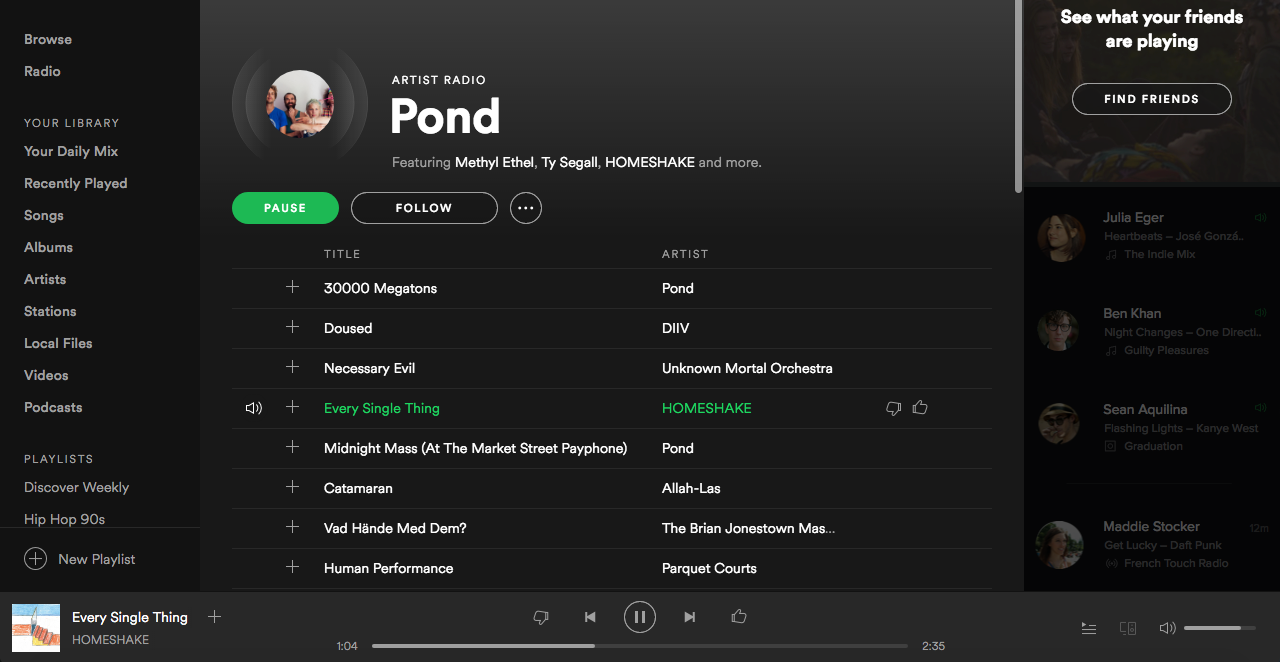 Live Radio playing Pond open in Spotify app