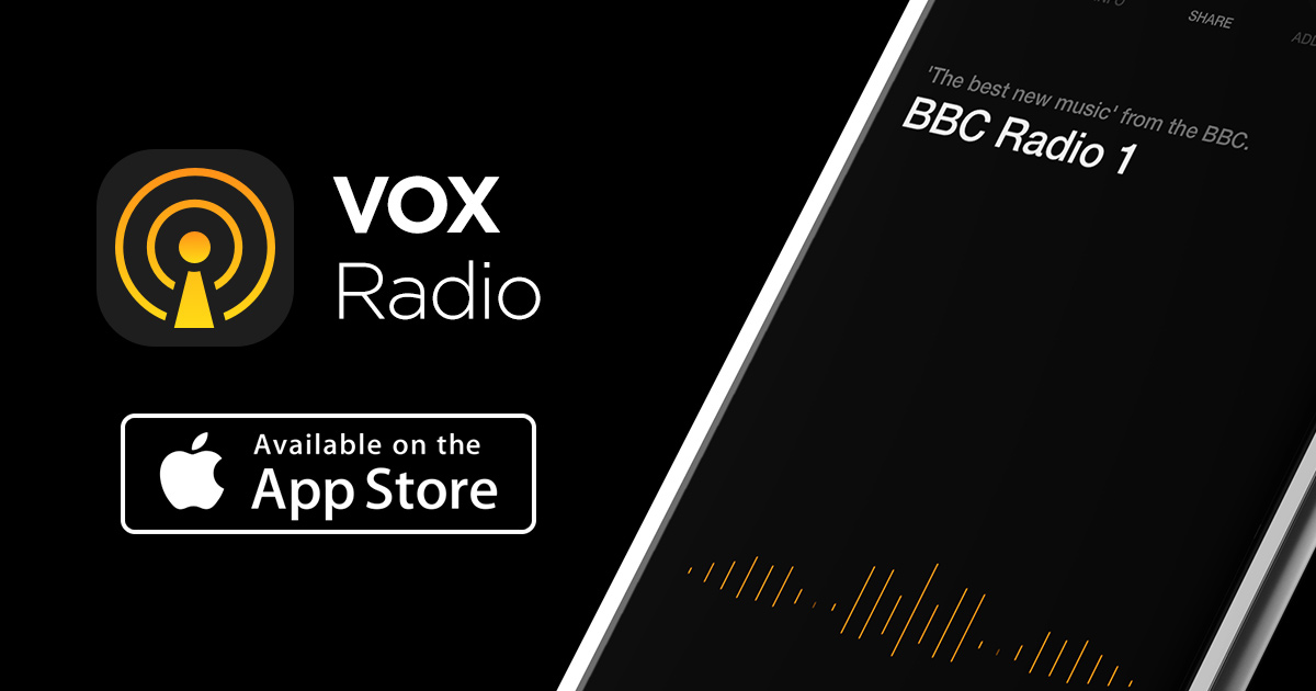 VOX Live Radio logo on a black background with 'Available on the App Store' button