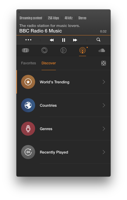 VOX Live Radio open in VOX app showing radio categories