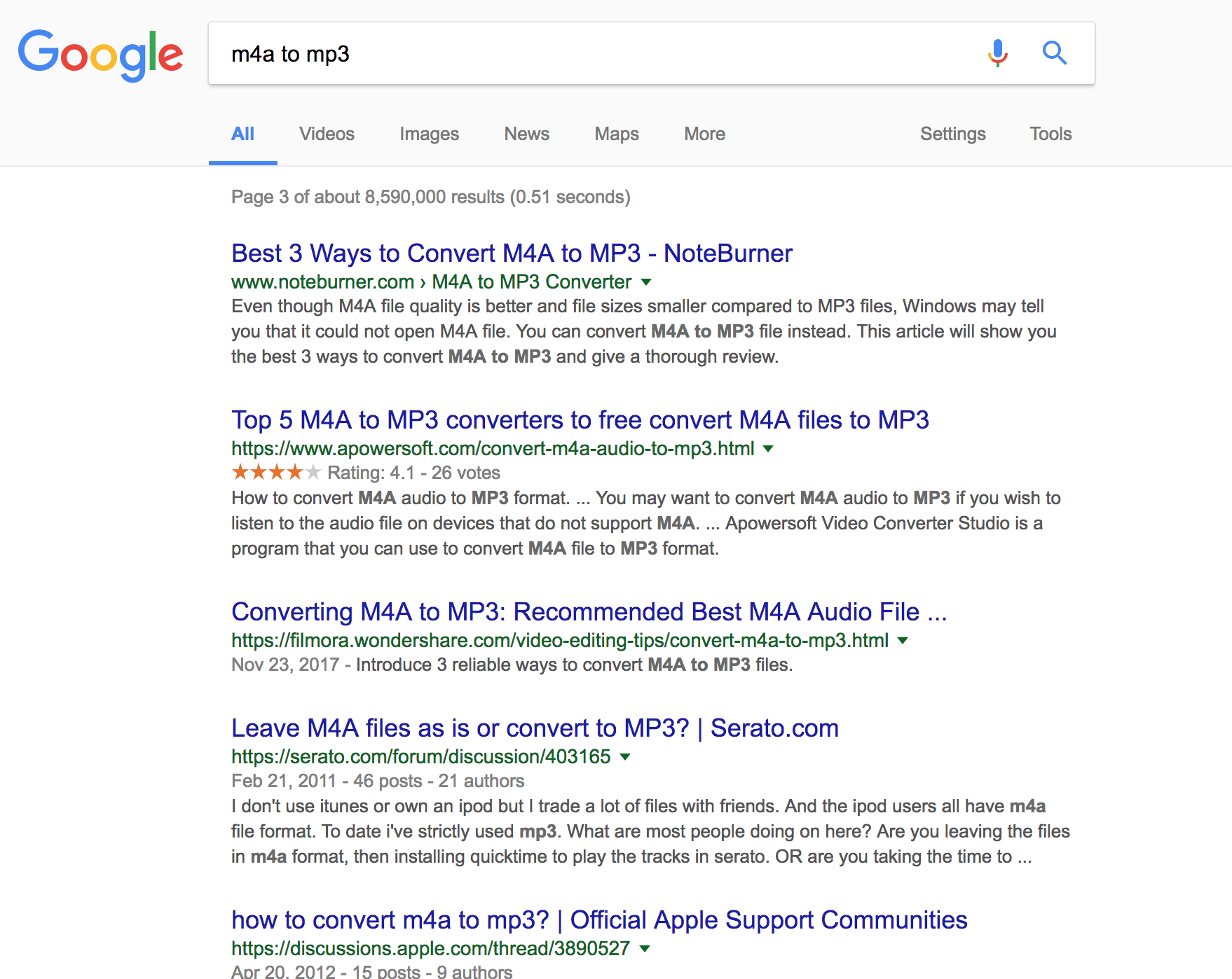 Google search results for m4a to mp3