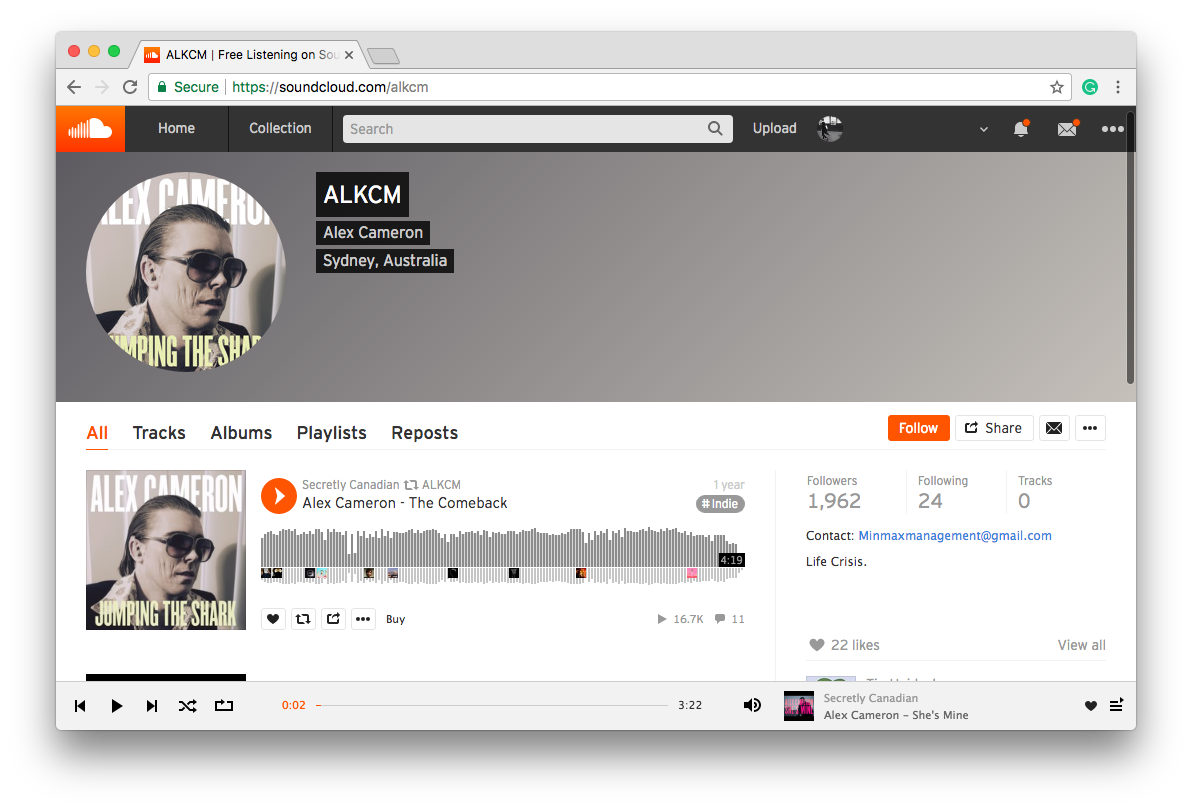 SoundCloud MP3 Music Download Website page Jumping The Shark by Alex Cameron available for free download