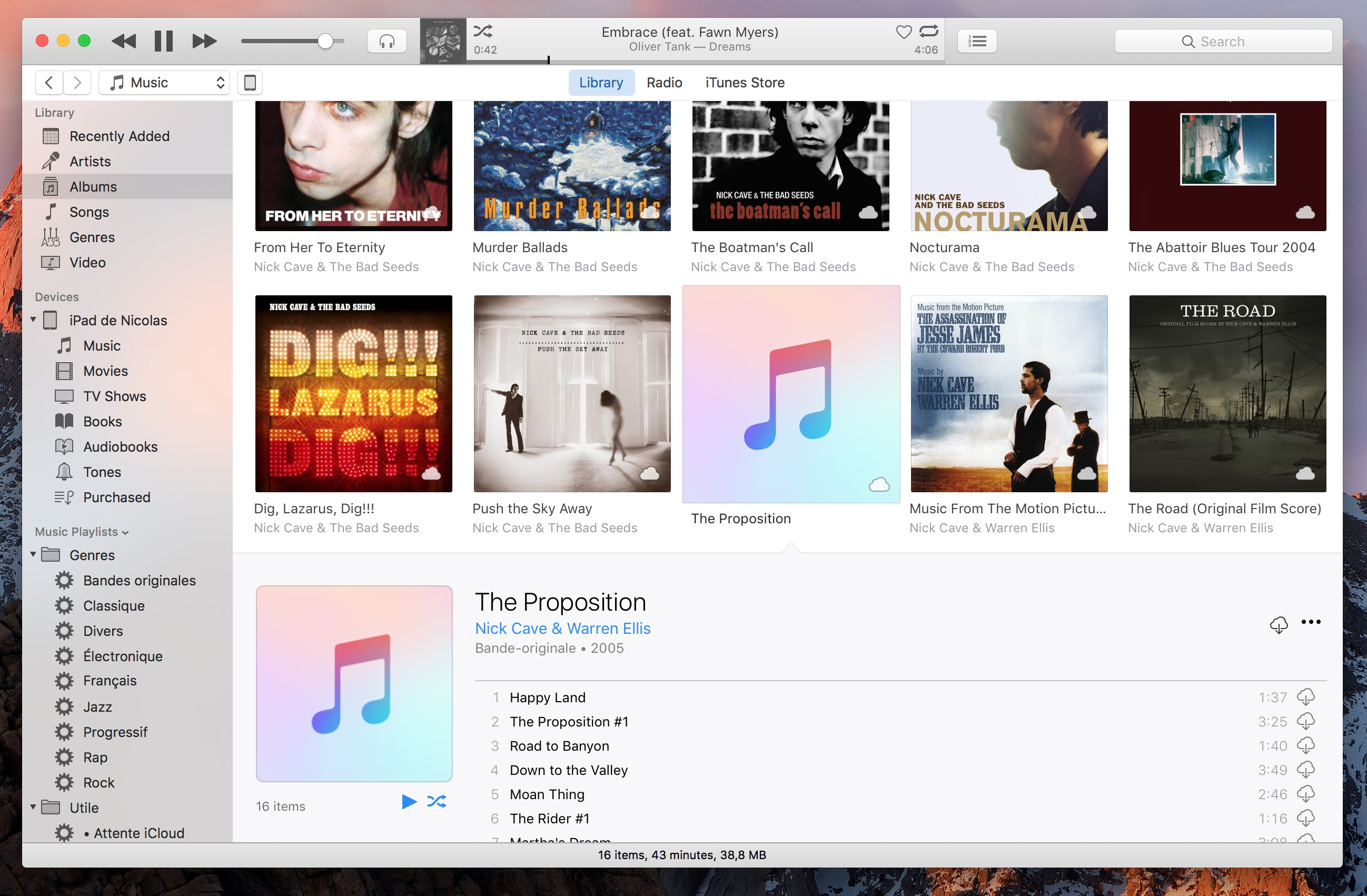 VOX Music Player App - iTunes interface, the Albums tab is open