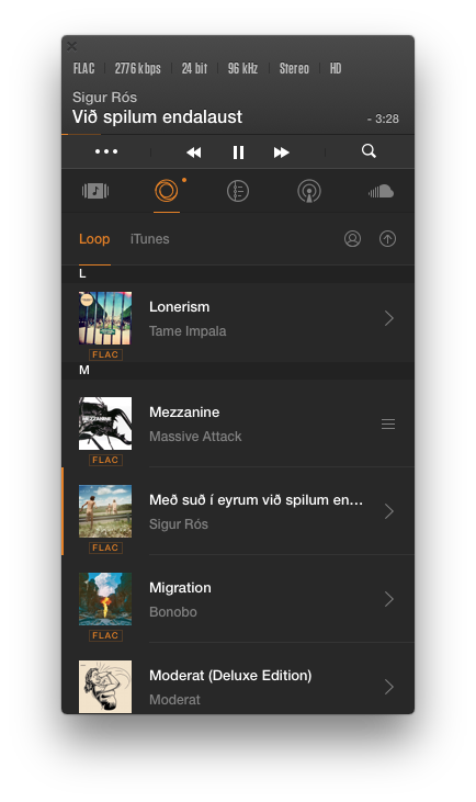 VOX Music Player App - Music Library open in List view