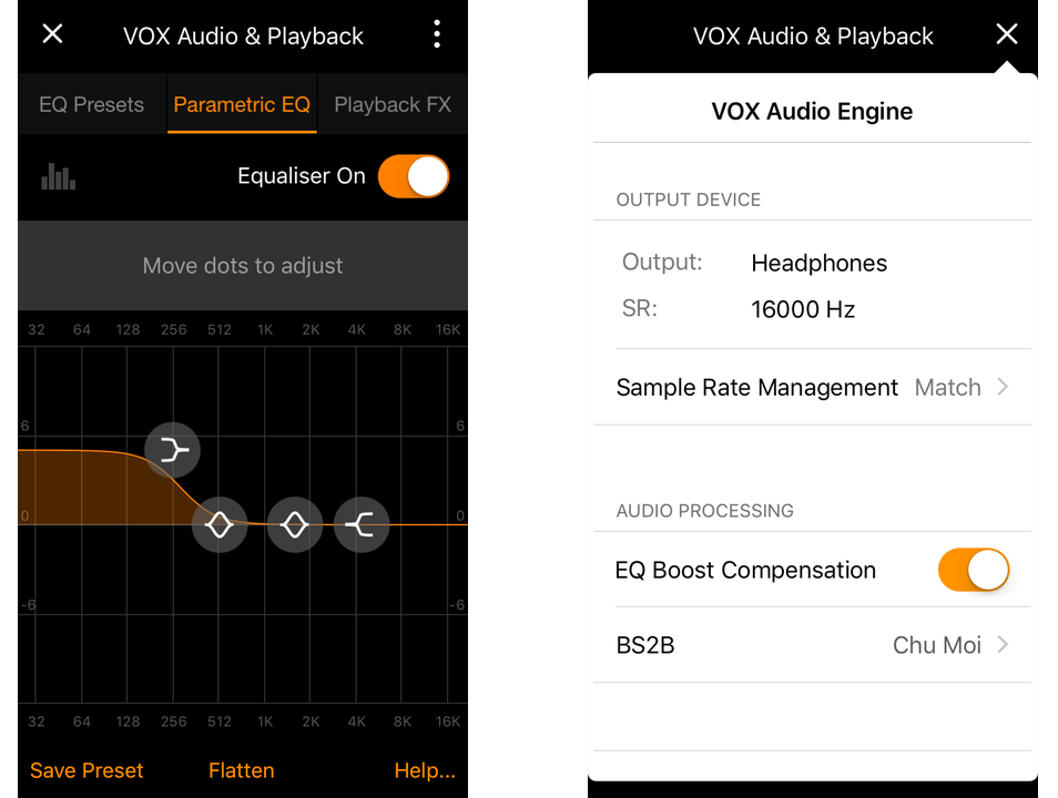 VOX Music Player App - Audio Setting and the EQ open