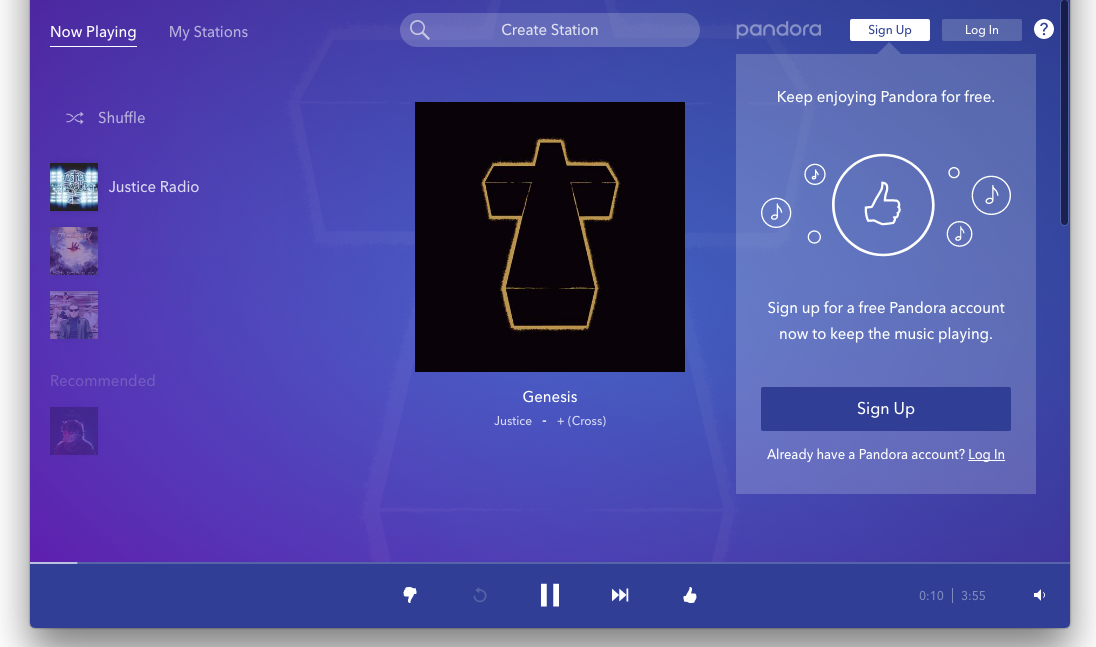 Pandora vs VOX - Pandora's main page