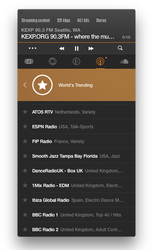 Pandora vs VOX - Radio features real radio station from all over the world. 'World's Trending' tab is open
