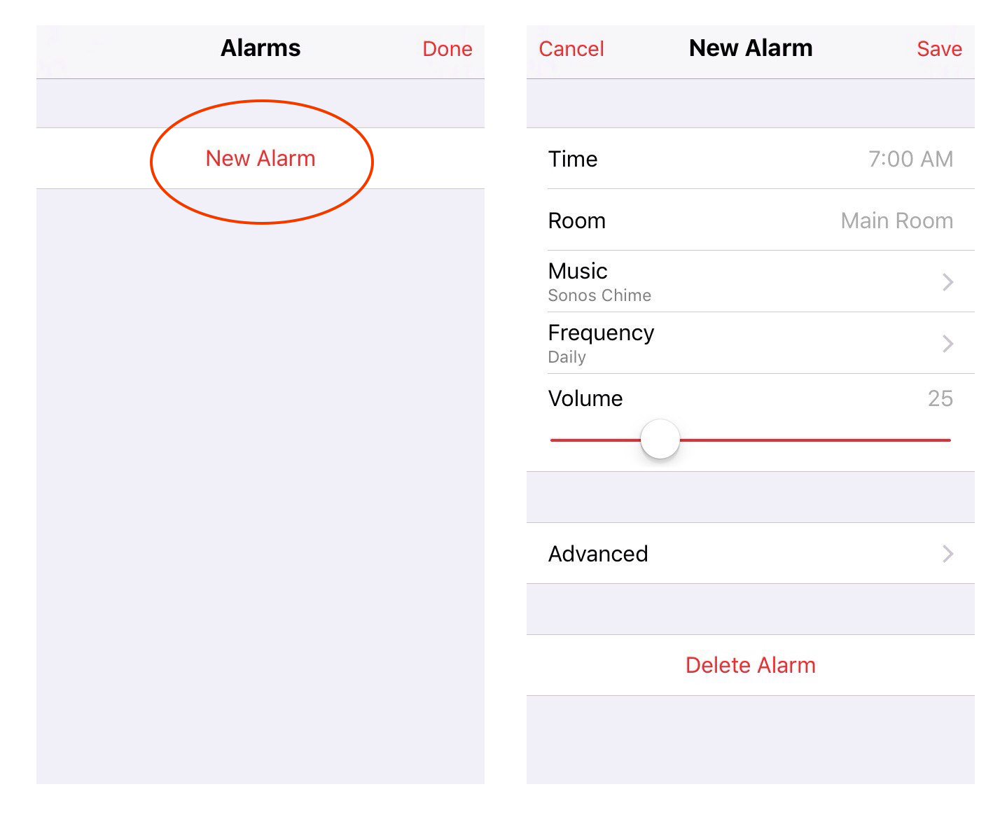 Instructions on how to set alarm in the Sonos Controller app