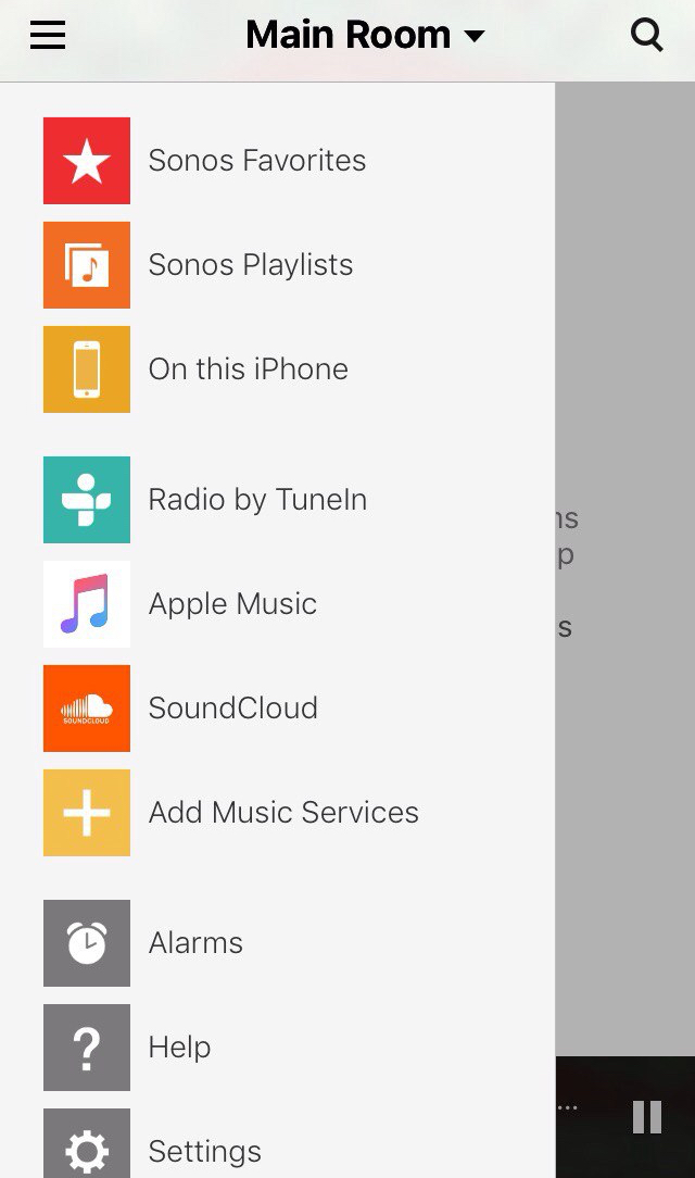 Sonos Controller main menu with 'Favorites,' 'Playlists,' 'On this iPhone,' and 'Radio by Tuneln,' 'Apple Music,' and 'Soundcloud' tabs