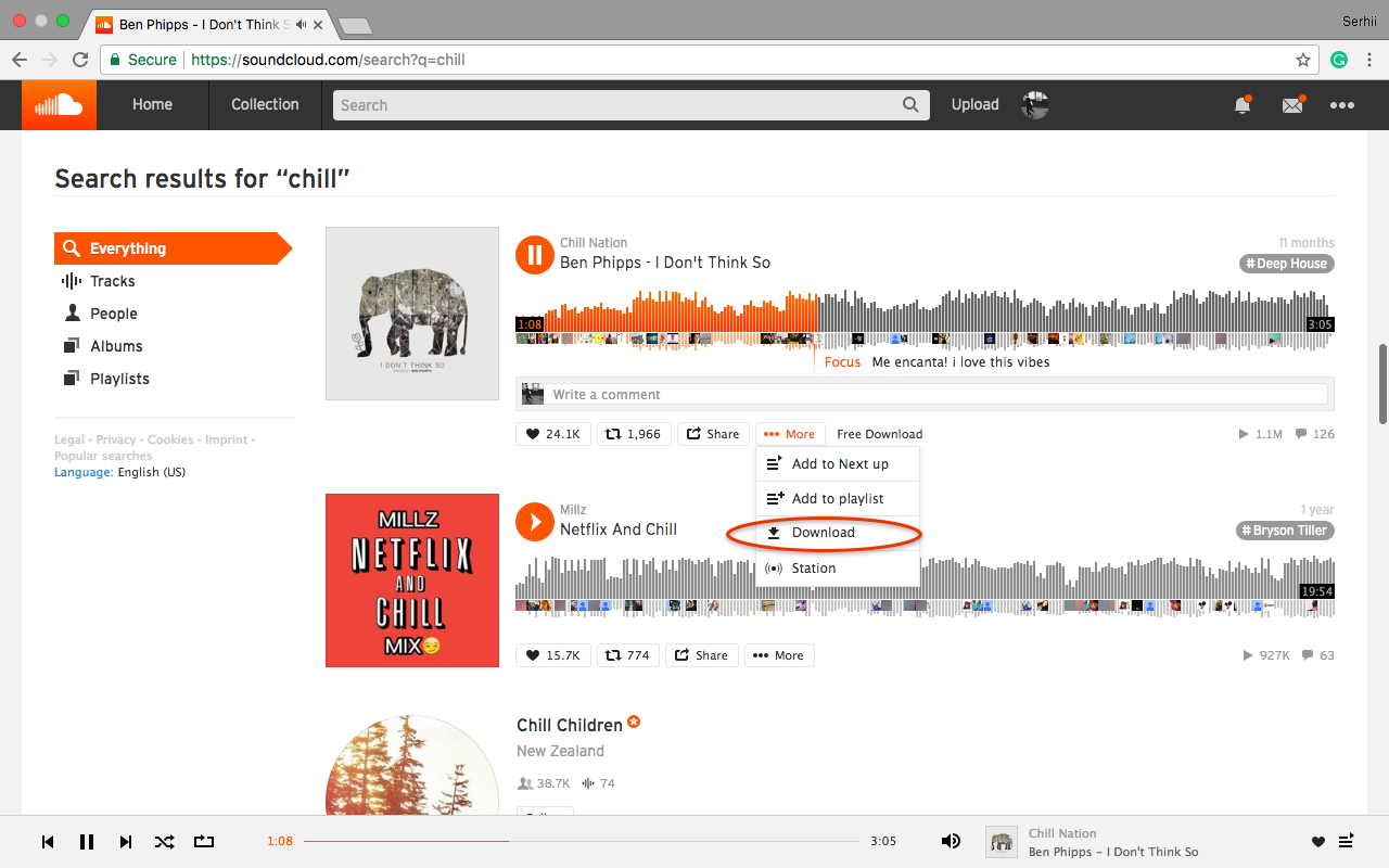 SoundCloud to MP3: SoundCloud in a browser with search results for