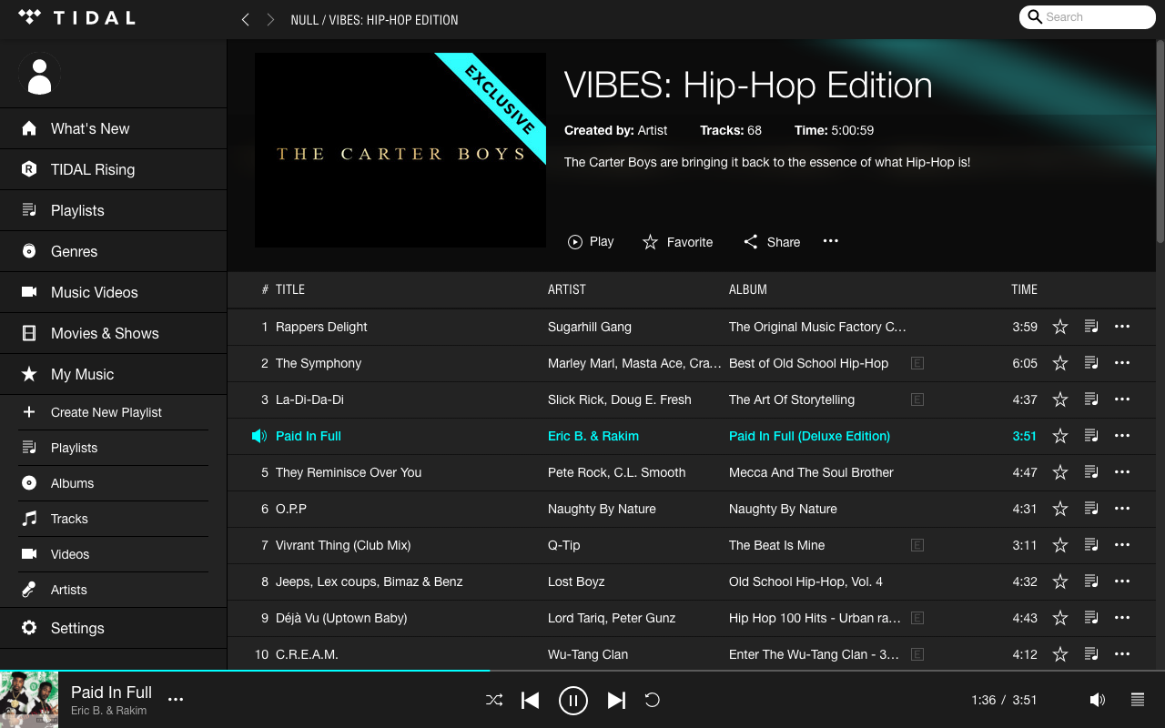 TIDAL vs. LOOP: TIDAL main interface with Playlists tab open