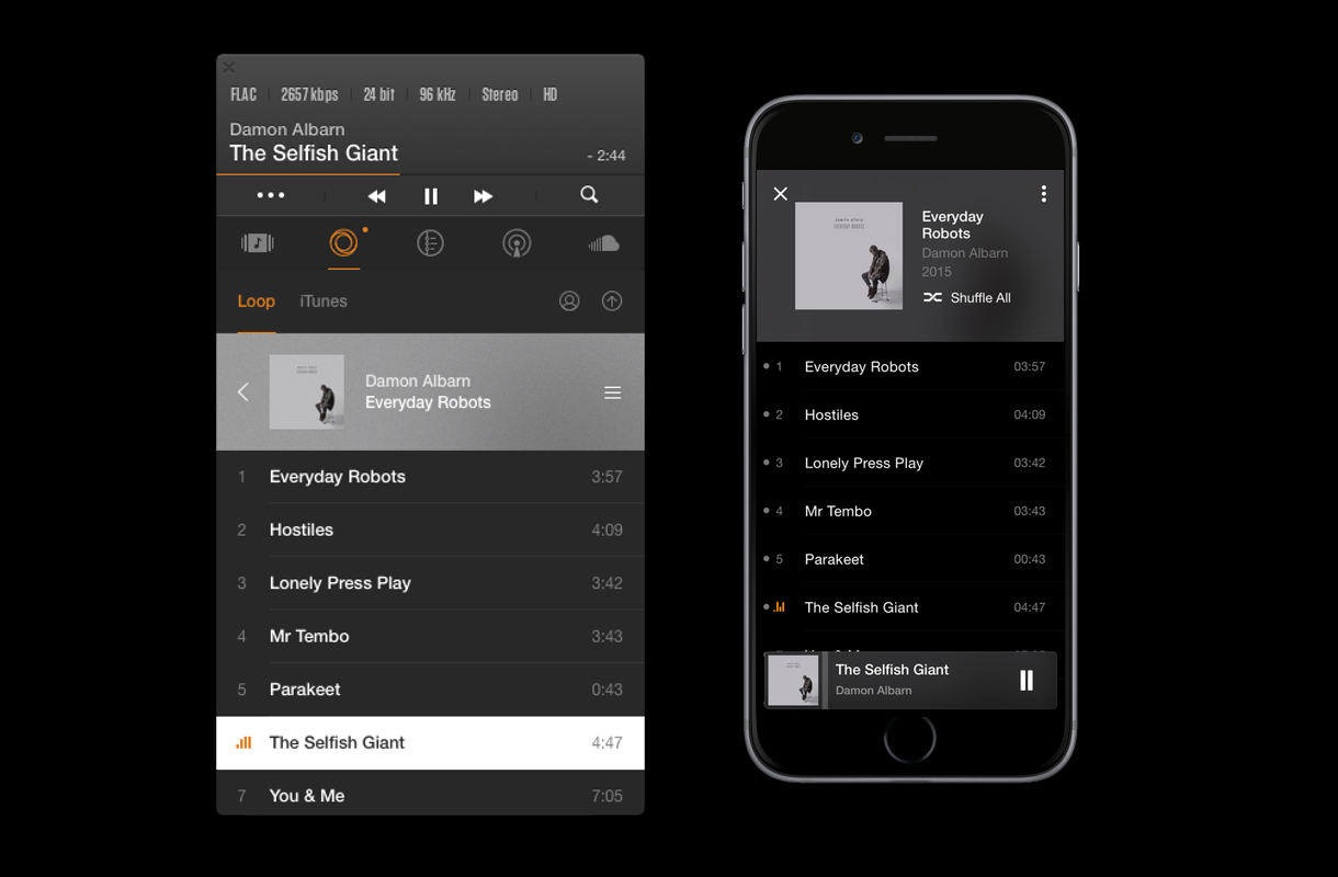 TIDAL vs. LOOP: VOX Music Player for Mac & iPhone playing The Selfish Giant by Damon Albarn