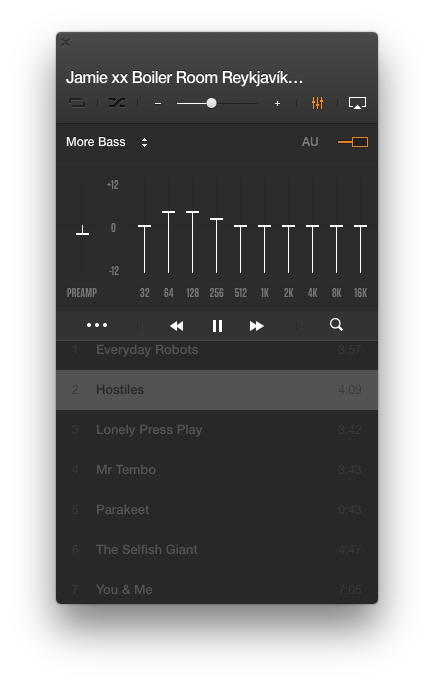 VOX EQ Volume Booster in VOX for iPhone showing 'More Bass' preset